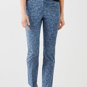 J Jill Blue Paisley Flat Front Ankle Pant Size 6